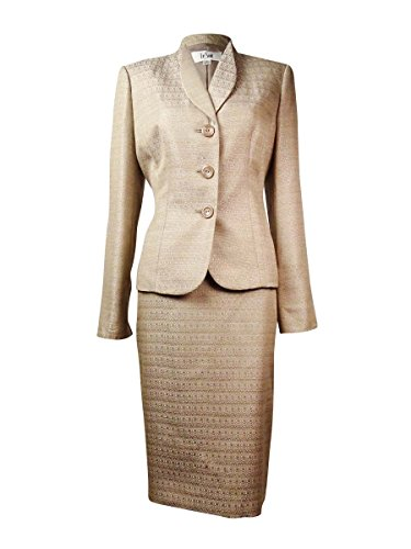 Skirt Suit Brown Tweed (Le Suit Women's 3 Button Notch Collar Tweed Jacket and Pant Suit Set, Chai Latte, 6)