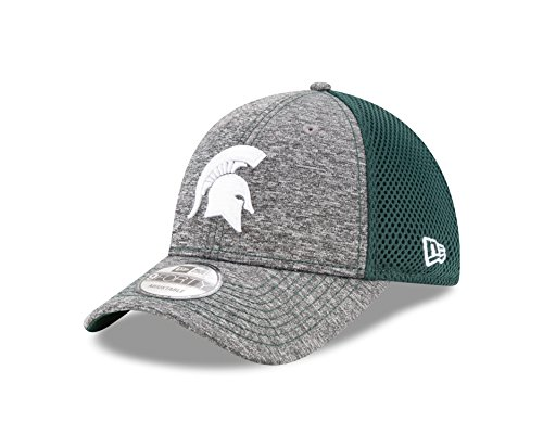 New Era Spandex Hat - New Era NCAA Michigan State Spartans Adult Shadow Turn 9FORTY Adjustable Cap, One Size, Graphite