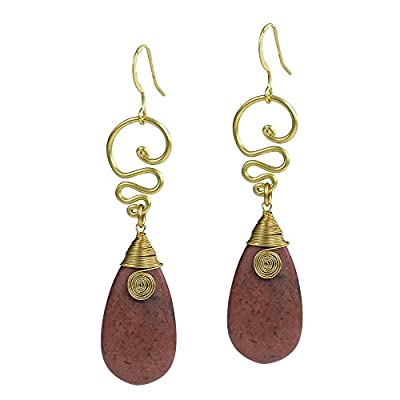 wholesale Bohemian Reconstructed Dyed Brown Howlite Teardrop Brass Swirl Fish Hook Earrings