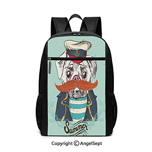 Middle School Backpack,Captain Dog with Hat Mustache Jacket and Shirt Cute Animal Funny Image Decorative,Navy Blue Pale Blue Orange,6.5