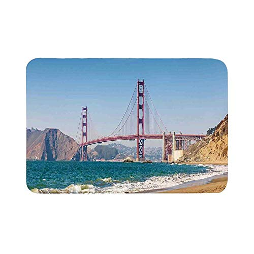 C COABALLA Landscape Durable Door Mat,Panoramic View of Golden Gate Bridge San Francisco Coastline Nature Seascape for Living Room,17.7