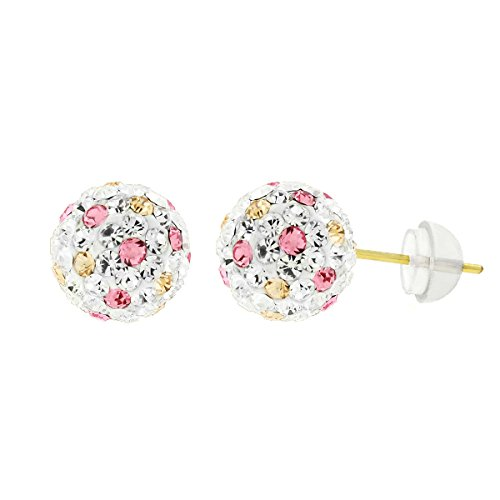14k Yellow Gold Womens 8mm Swarovski Elements Crystal Disco Fire Ball Studs Earrings (White/Peach/Pink)
