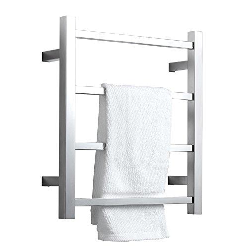 SHARNDY Towel Warmers Heated Towel Rail Square Bars ETW13-2A Towel Warmer for Bathroom Polish Chrome