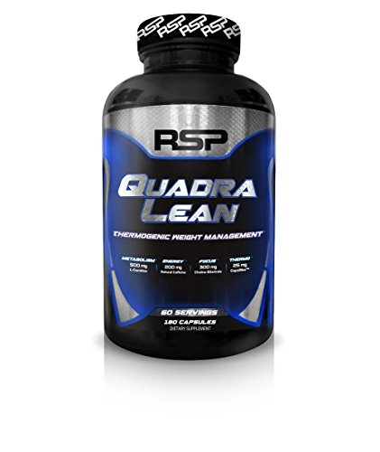 RSP QuadraLean Thermogenic Fat Burner for Men & Women, Weight Loss Supplement, Crash-Free Energy, Metabolism Booster & Appetite Suppressant, Diet Pills, 60 Servings ()