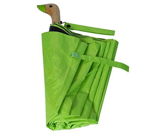 HappyGo Cute Duck Wooden Handle Sunscreen Manually Open Travel Umbrella Light Green£¨Sunscreen Coating£ 8 ribs ()