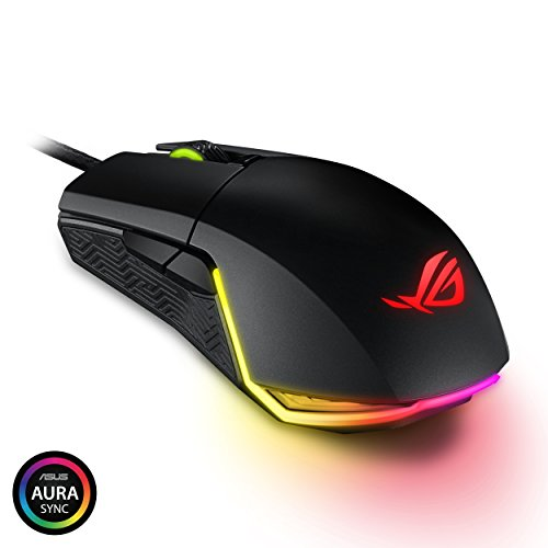 ASUS ROG Pugio Gaming Mouse Aura RGB USB Wired Optical Ergonomic Ambidextrous Gaming Mouse (Asus Mouses)