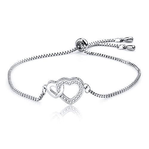 Dec.bells Sterling silver Love Heart Crystal Charm Bracelet Elegant White Gold Plated Chain Bracelet Wife Girlfriend Birthday Gift Jewelry