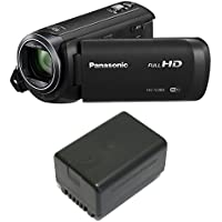 Panasonic HC-V380K HD Camcorder 50x Optical Zoom w/ Wasabi VBT190 Spare Battery