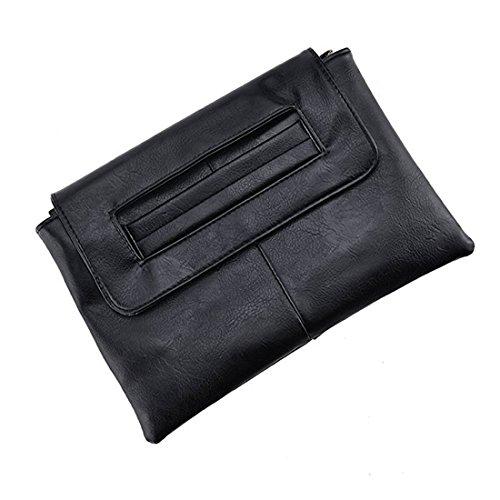 Womens Leather Envelope Clutch Handbag with Shoulder Strap ()