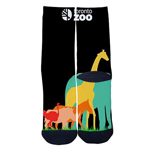 Mens Womens Casual Canadian Travel Poster for Elephant Giraffe at Toronto Metro Zoo Socks Crazy Custom Socks Creative Personality Crew Socks Black -