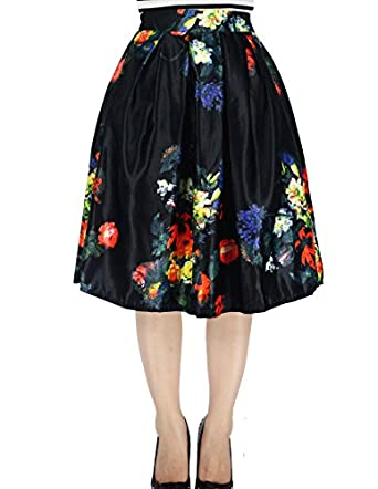 Amazon.com: YSJ Women's High Waist A-Line Pleated Skater Skirt ...