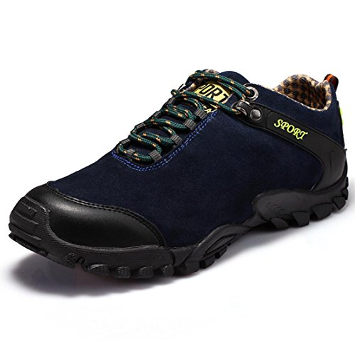 WSK Hiking shoes Men's outdoor sports and leisure men's shoes leather wear-resistant non-slip breathable low-cut tie hiking shoes, black, 44