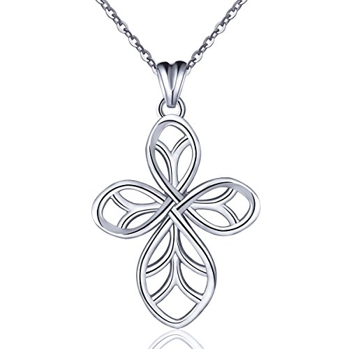 (EUDORA 925 Sterling Silver Necklace Celtic Knot Cross Pendant, 18 inch Chain, Lucky Gift for Women)