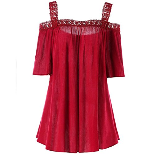 Video Cam Hot (iTLOTL Women Plus Size Solid Lace Patchwork Ruched Blouse Short Sleeve Tops Cami Shirt(US:14/CN:XXL, Red))