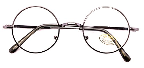 Casual Fashion Small Round Circle Clear Lens Eyeglasses Thin Frame Unisex Glasses (Gunmetal)