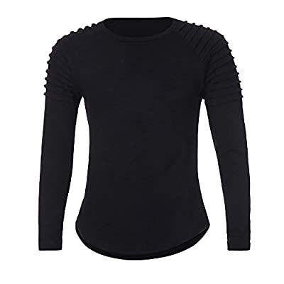 Easytoy Fashion Mens Casual Ribbed Crewneck Slim Fitted Long Sleeve Workout T Shirts