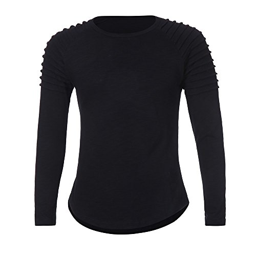 Realdo Long Sleeve T-Shirt for Men, Fashion Casual Slim Solid Crewneck Pleated Pullover Shirt -