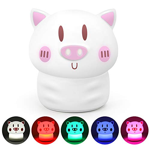 OUNUO Night Light for Kids Baby Nursery Night Light with Touch Sensor, Portable Rechargeable and Cute Nightlight Lamp for Children Toddler Bedroom Birthday Gift (Pink) ()