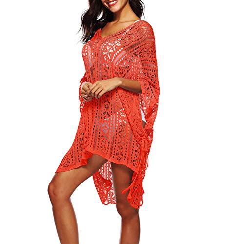 Women's Bathing Suit Cover Up Crochet Lace Bikini Swimsuit Dress (9 Colors) by Lowprofile Orange