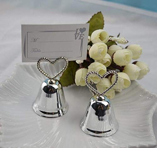 BeesClover (50pcs/lot+Christmas Party Favor Kissing Bell Place Card Holders in Silver or Golden Color Wedding Favors Gold