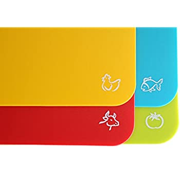 Set Of 4 Flexible Cutting Board Mats With Labeled Food Icons   Extra Thick  Plastic 2MM Nonslip Antimicrobial Easy To Clean Hanging Boards By Foodie Aid