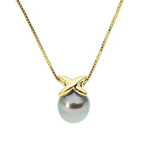 Pearls & Colors - Chaîne maille vénitienne - Or jaune 9 cts - Perle de culture de Tahiti - 42 cm - PC-9CT07