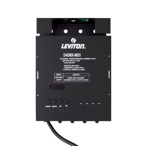 Leviton D4DMX-MD5 4-Channel Programmable Dimmer Pack Integrating Stand-Alone, 5-Pin DMX 15A Power Cord