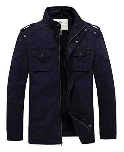 WenVen Men's Winter Warm Comfortable Jacket Classic Twill Cotton Stand Collar Thicken Jacket(Navy,M)