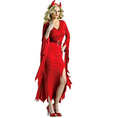 iLOOSKR Sexy Dress Women Halloween Cosplay Flare SleeveVintage Gothic Long Dress Mid-Calf with Sashes Red
