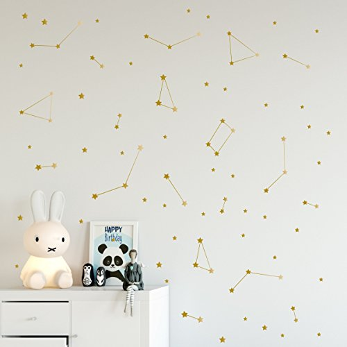 Gold constellation wall decal, Space stickers, Removable vinyl nursery decals, Milky Way stars - 96 - Nursery Stickers Removable