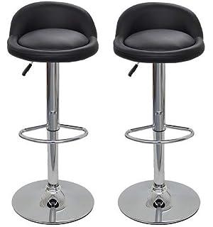 La Silla Española - Pack de dos taburetes con asiento redondo en color negro, en