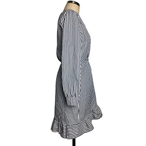 SKY Mujeres Las mujeres escotado con cuello en V vestido de rayas de manga larga Stripe Printing Splicing Long Sleeve Slim Straight Dress Armada