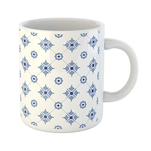 Semtomn Funny Coffee Mug Blue Abstract Delftware Pattern Amsterdam Antique Delft Europe European 11 Oz Ceramic Coffee Mugs Tea Cup Best Gift Or Souvenir -