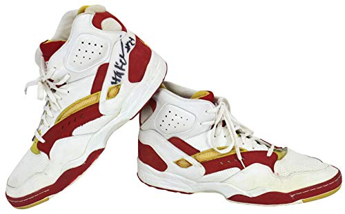 Hakeem Olajuwon Rockets Signed - Rockets Hakeem Olajuwon Signed 1993-94 Game Worn LA Tech Shoes BAS #A57031 - Beckett Authentication - Autographed NBA Sneakers