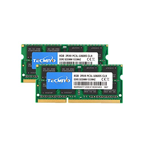 (TECMIYO 16GB Kit (2x8GB) DDR3 PC3-10600 SODIMM, DDR3-1333 Non ECC Unbuffered 1.35V/1.5V CL9 2RX8 Dual Rank 204 Pin Laptop Notebook Computer Memory Ram)