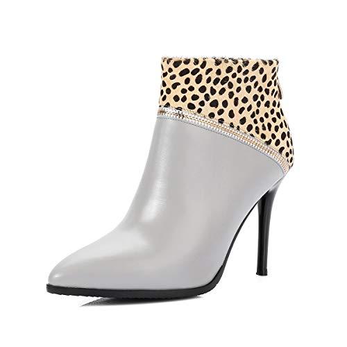 Inverno Punta Feste Gray Moda Con Donna Stampa Leopardata E Scarpe A Pelle  Formali inverno Hy ... dbfe5198768