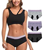 Intimate Portal Women Period Panties Incontinence Underwear Leak Proof Menstrual Brief 3-Pk Black Gray Purple XXXL Plus Size