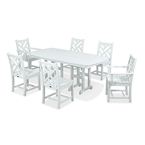 POLYWOOD PWS121-1-WH Chippendale 7-Piece Dining Set, White