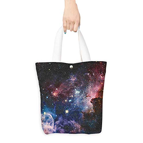 (Shopping Tote Bag Space Decorations Collection Stars Nebula Colorful Explosive in Space Galaxy Astronomic Magical Picture Print Navy Pink (W15.75 x L17.71 Inch))