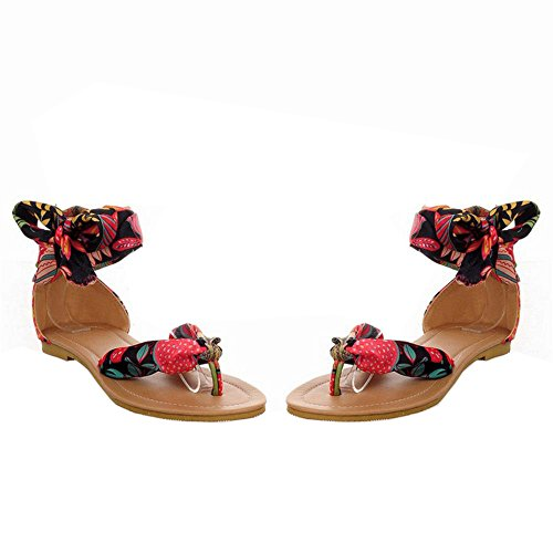 COOLCEPT Tobillo Al Planos Beach Style Bohemian Negro Zapatos Sandalias Toe Mujer Floral Clip AqrAzwTx6