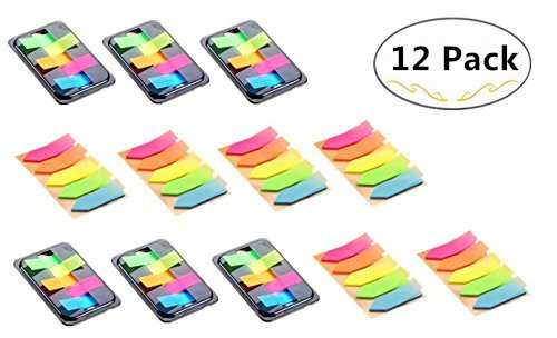 12 Packs Index Tabs(1200 Sheets in Total), Magnolora Neon Page Marker Colored Sticky Note, Transparent Tabs Flags Stickers for Page Marker, Assorted Colors Index Label, 2 Sizes 1200 Sheets