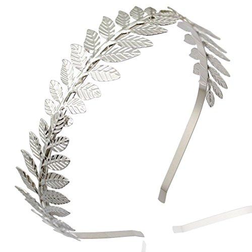 [NUOLUX Headbands,Leaf Branch Bridal Hair Crown Head (Silver)] (Roman Goddess Accessories)