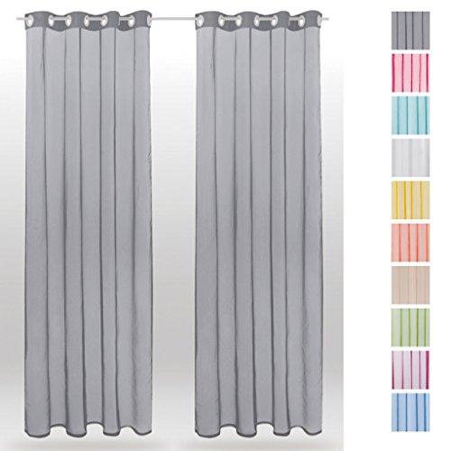 Ösenschal Noella, Dekoschal Gardine Transparent Voile 2er Pack, Auswahl: 140x245cm grau - lichtgrau