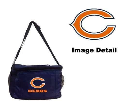 Chicago Bears NFL Team Logo 6-Sports Drink Beer Water Soda Beverage Can Insulated Picnic Outdoor Party Beach BBQ Kooler Cooler Lunch Bag Tote - 6-Pack Bag ()