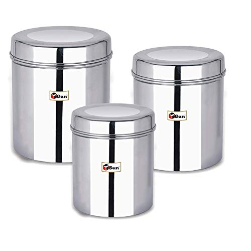 EBun-Stainless-Steel-Set-of-3-Canisters-Containers-Ubha-Dabba-with-lid-for-Kitchen-Storage-85012001400-GMS-Plain-Model