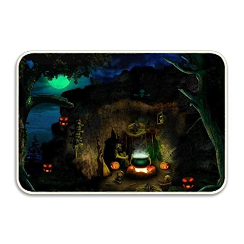 Elvira Jasper Halloween Dark Cave Indoor/Outdoor Natural Rubber Non Slip Entry Doormat for Patio, Front Door, All Weather Exterior Doors -