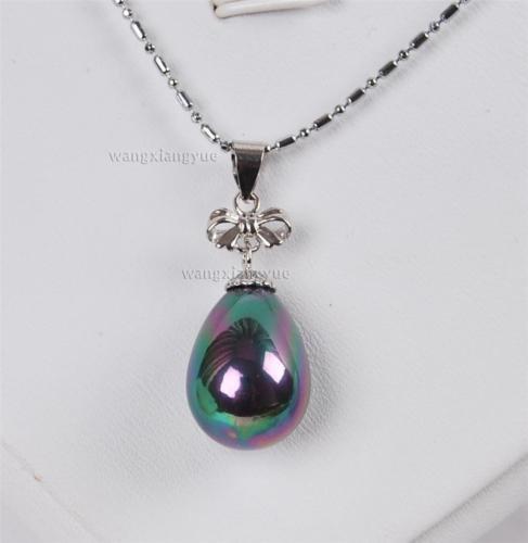 Gozebra(TM) 12x16mm Black South Sea Shell pearl pendant necklace 17