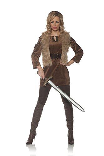 Underwraps Women's Viking Princess Costume-Lady Crusader, Brown, Large