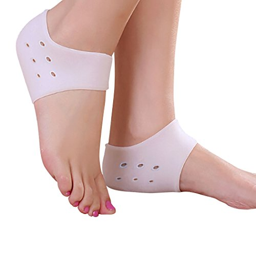 FootMatters Silicone Soft Gel Heel Protector Cushion Pad Wrap - Medical Grade Silicone Gel - Reduce Heel Shock Helping Prevent Heel Bone & Joint Pain - Prevent Painful Irritation, Blisters & Calluses - 1 pair