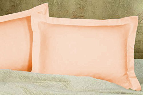(USA BEDDING Best Selling Solid Pattern Pillow Shams Ever! 600 Thread Count Egyptian Cotton Quality Super Soft 2-PCs Pillow Shams Standard (20 X 26) Peach Color)